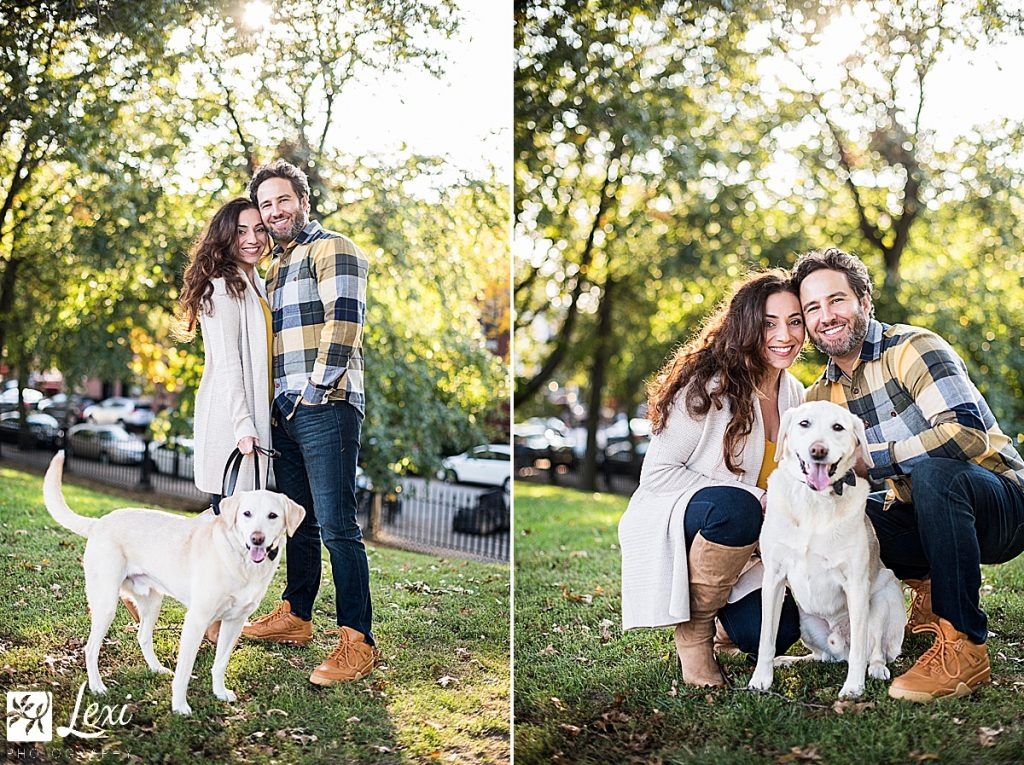 Bunker hill monument engagement photos, yellow lab