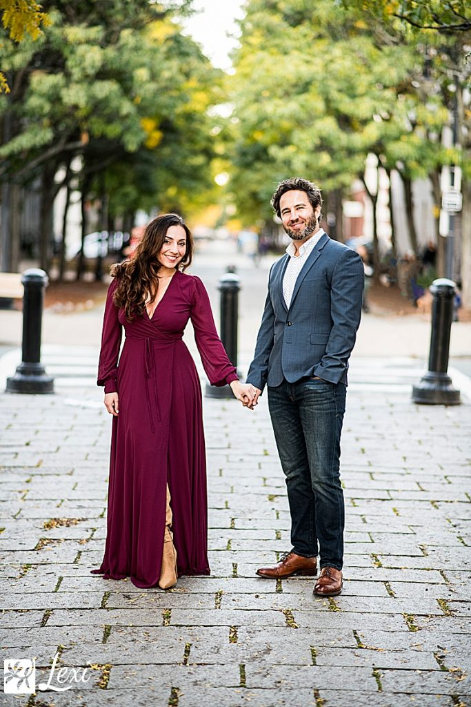 couple dressed up in charlestown navy yard