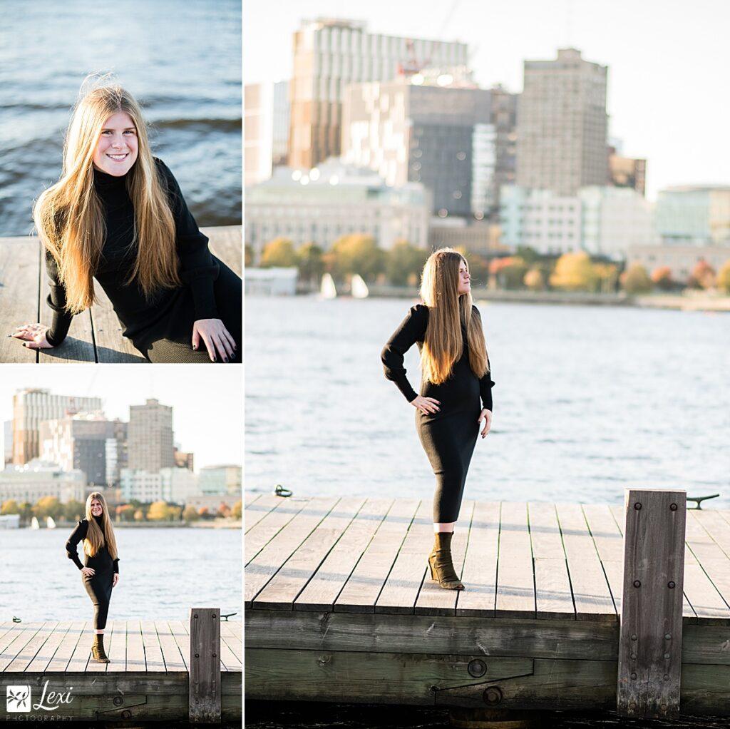 Charles River boston senior portrait on the dock