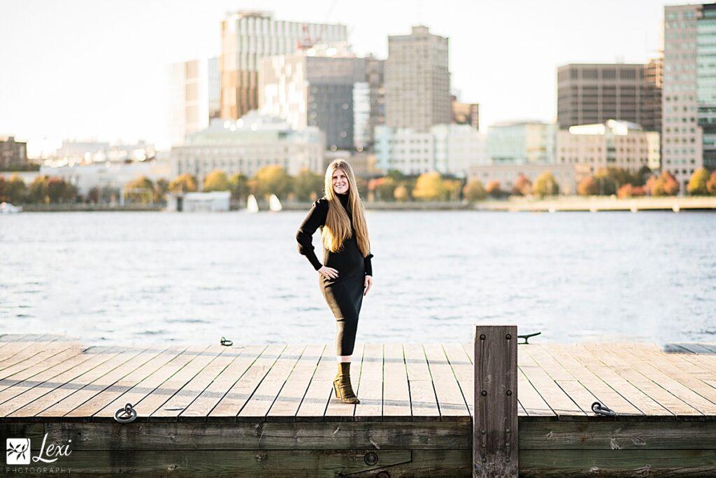 Boston senior portrait on the esplanade dock